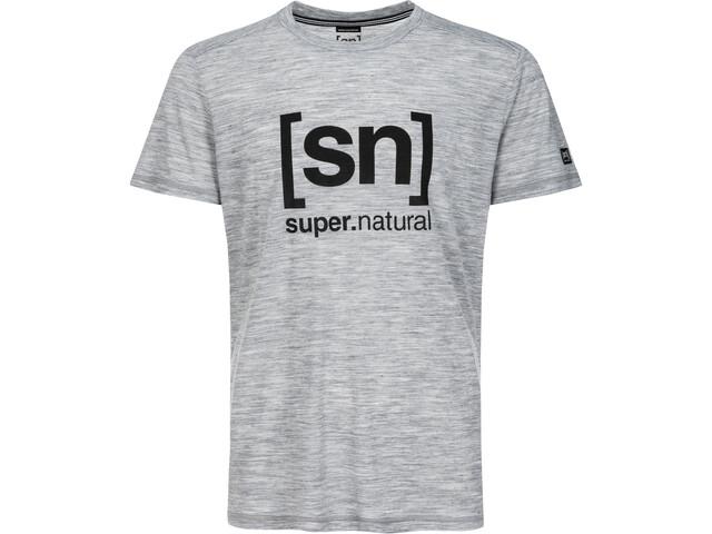 super.natural Essential I.D. Tee Herre ash melange/jet black logo
